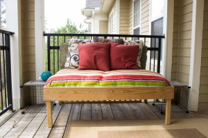 Balcony seat with pillows